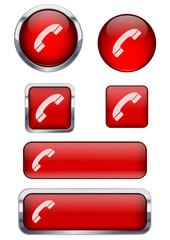 Kırmızı telefon ikon seti