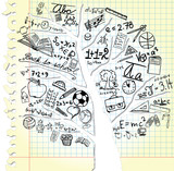 Paper with tree and school symbols