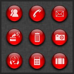 Kırmızı küreli ikon seti