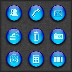 Mavi küreli ikon seti