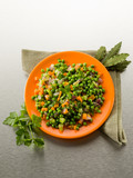 salad with peas carrots and onions sauteed, healthy food