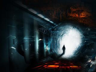walking man on a fantasy space landscape