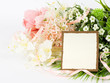 Beautiful spring flowers with banner add