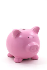 Pink Piggy Bank Isolated on White