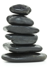 Balanced Pebbles on White Background