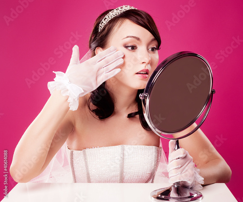 bride with a mirror