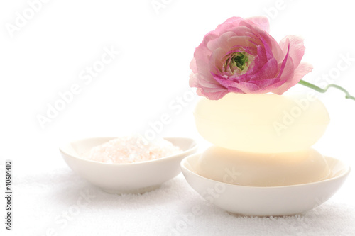 Soap with ranunculus