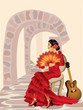 Spanish flamenco woman. vector illustration