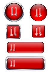 Kırmızı termometre ikon seti