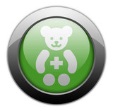 "Green Metallic Orb Button ""Pediatrics"""