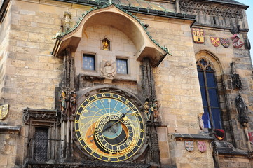 astronomical clock tower in the old town of Prague