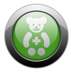 "Green Metallic Orb Button ""Pediatrics"""
