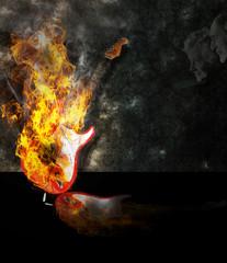 Guitare en feu