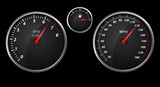 Modern auto speed meter on black,included clipping path