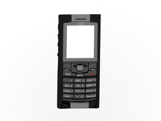 3d render of mobile phone with blank screen