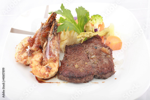 Steak with Jumbo Shrimp.