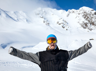 Joyful athlete Snowboarder