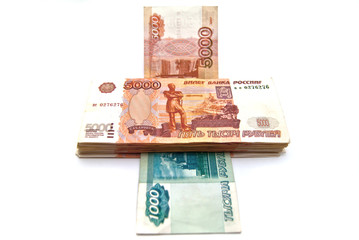 Money printing machine. Russian banknotes