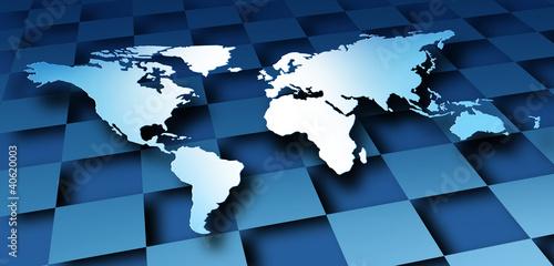 Staande foto Wereldkaart World Map Dimensional Design