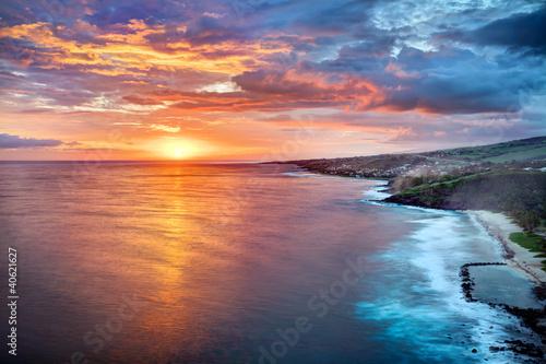 Canvas Zonsondergang Crépuscule sur Grande Anse - Ile de La Réunion