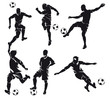 Set of six vector football (soccer) players silhouette with ball