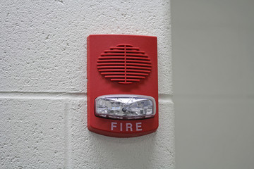 Red Fire Alarm with Strobe