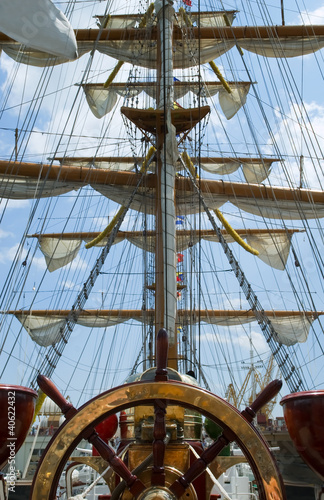 Fototapeta Old ship wheel