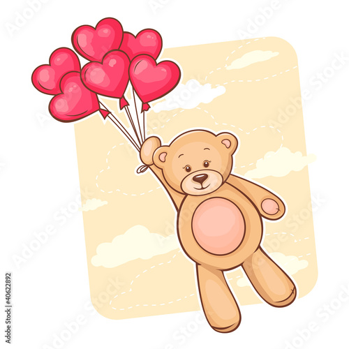 Teddy bear with red heart balloons - 40622892