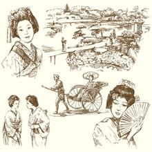 Japan - ręcznie rysowane zestaw