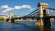 Budapest, The Chain Bridge On The River Danube