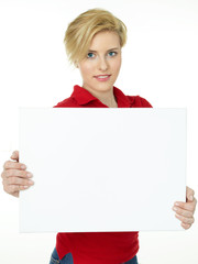 Pretty woman with white message board on white background