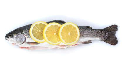 Fresh fish with lemon isolated on white.