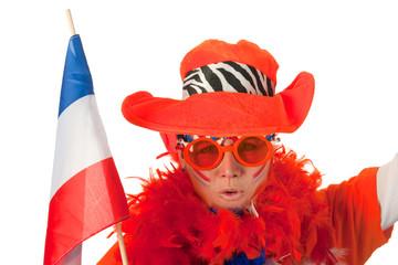 Dutch woman with flag as soccer fan