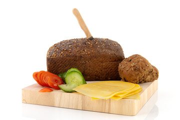 Healthy brown bread with cheese