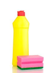 Dishwashing liquid and sponge isolated on white