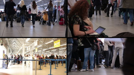 People go to take airplane - woman with pc