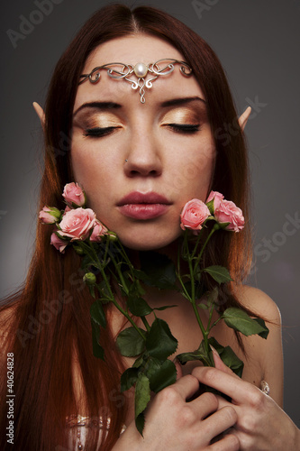 Girl elf with a tiara on her head
