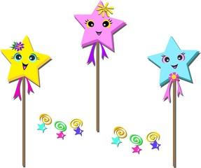 Mix of Three Star Poles