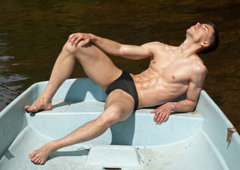 Model on the boat