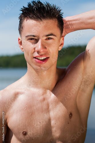 Model at the lake