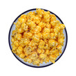 Cheese flavored popcorn in blue bowl