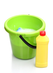 Bucket with detergent for cleaning isolated on white