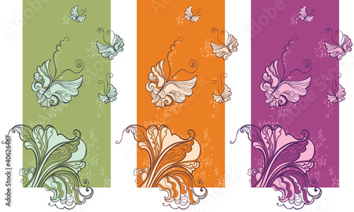 Bright cards with butterflies and leaves.