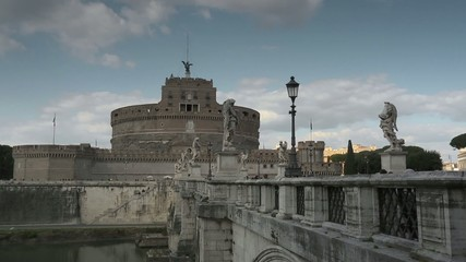 Castel Sant'Angelo, famous monument on river Tiber, Rome, Italy