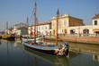 Cesenatico harbor, antique fishing sailing boats