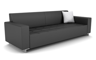 modern black leather couch isolated on white background
