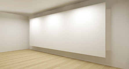 Clean gallery with white backdrop, 3d art