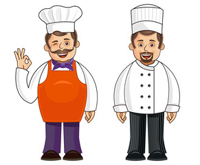 A chef in 2 different outfits