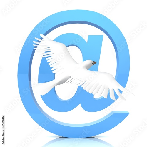 Email symbol with dove.