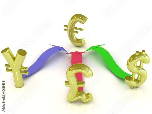 Dollar, euro, yen and pound signs with color arrows